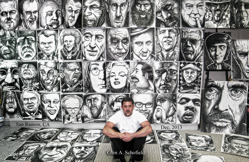 Glen A Schofield ICONS Black and White drawings